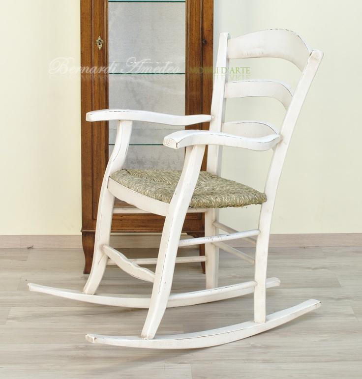 Sedia a dondolo fatta a mano e laccata - Rocking chair, italian country style