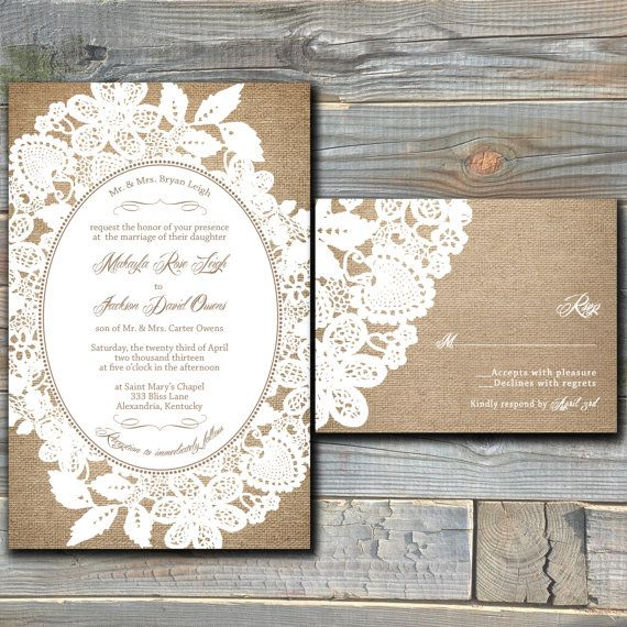 Burlap and Lace Wedding Invitation Suite with RSVP Cards - Printable Wedding Invitation - Customized Digital Files - DIY Wedding