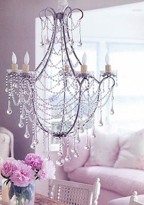 Pretty pink: Lights, Crystals Chand, Living Rooms, Shabby Chic, Soft Pink, Chandeliers, Pink Rooms, Chic Interiors, Girls Rooms