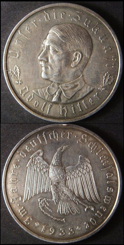 """Vintage 1933 Pre-WWII Germany Hitler Medal Coin, 1-3/8"""", uncirculated"""