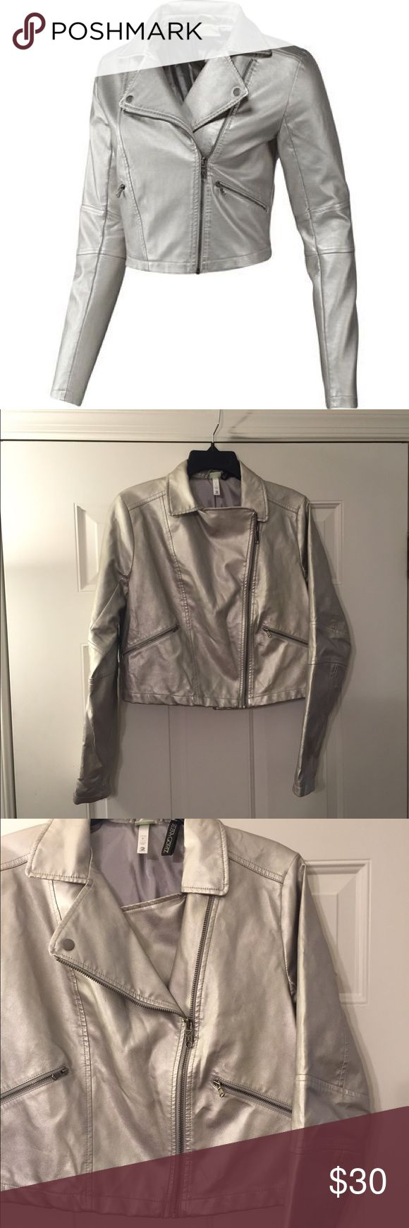 Adidas Neo Label Selena Gomez Silver Zip Up Jacket Great condition! Shorter/cropped length. Thank you for looking! Reposhing due to size. Adidas Jackets & Coats