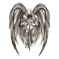 angel warrior black and white