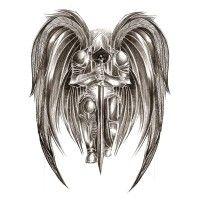 angel warrior black and white