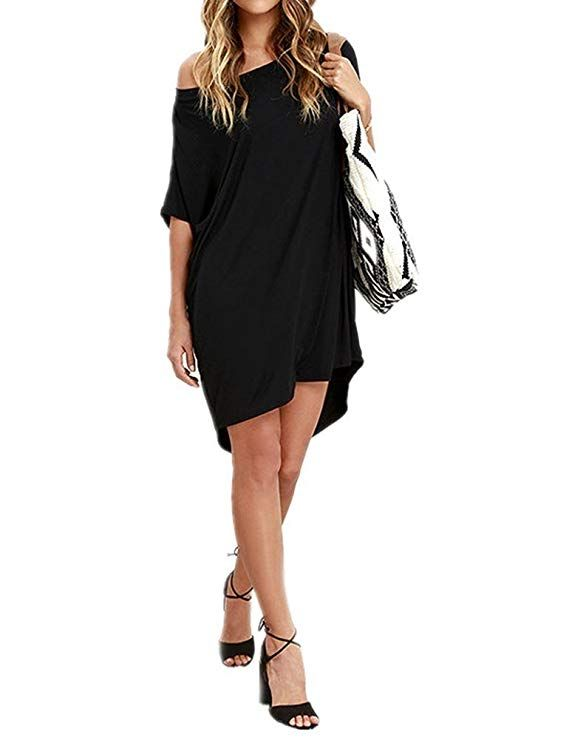 2bba3bceac8 Haola Women Loose T-Shirts Home Short Shirt Mini Dresses Tops at Amazon Women s  Clothing store.  Outfits  Baby  Fashion  Dresses