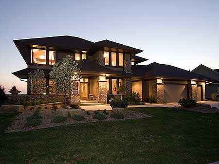 Plan 14469RK Prairie Style Home Plan Luxury houses Photo