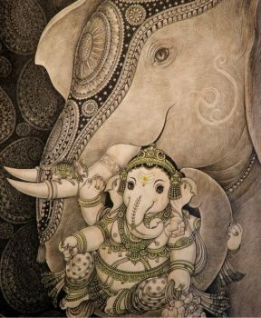 Baby Ganesh--interesting because Ganesh's mother was not an elephant.