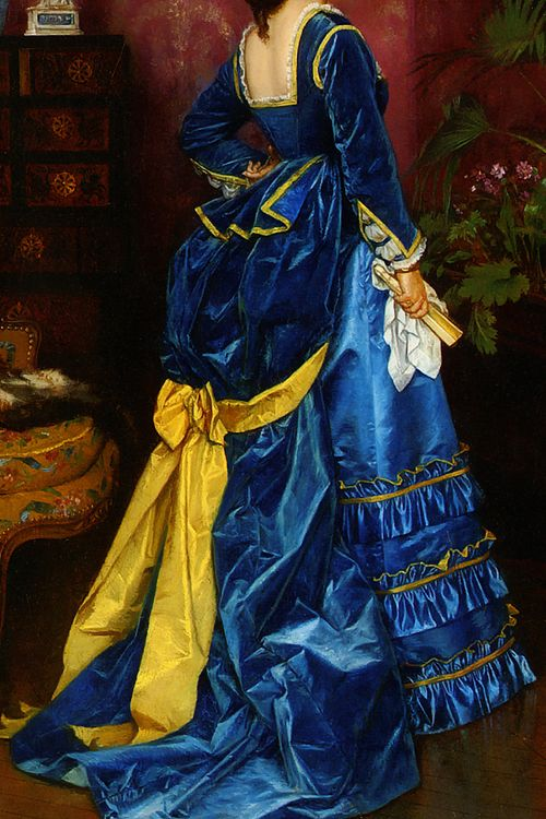 warpaintpeggy:  INCREDIBLE DRESSES IN ART (77/∞)The Blue Dress by Auguste Toulmouche, 1870