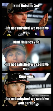 """""""Are you satisfied Kimi?""""    @F1Humour"""