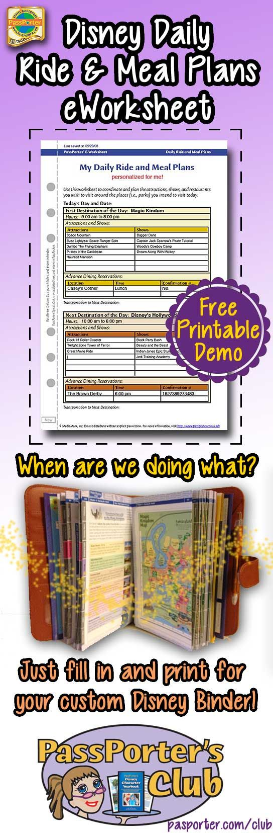 Disney Daily Ride and Meal Plan eWorksheet -- automagically calculates for you! Free printable demo.