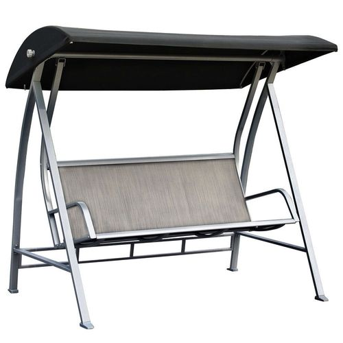 Durable Steel Frame 3-Seat Sling Canopy Swing, Grey for Patio/Porch