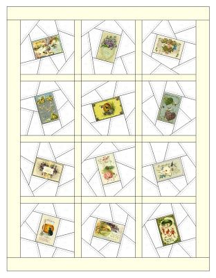 This website gives different crazy quilt blocks centered around old fashioned postcards. free downloads of templates.