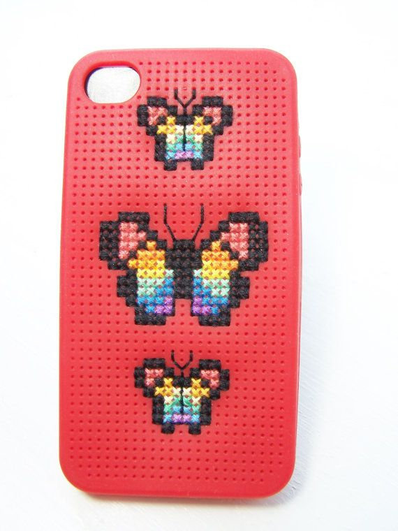 iPhone 4 Case Rainbow Butterfly Embroidered Phone by WitsEndDesign, $20.00