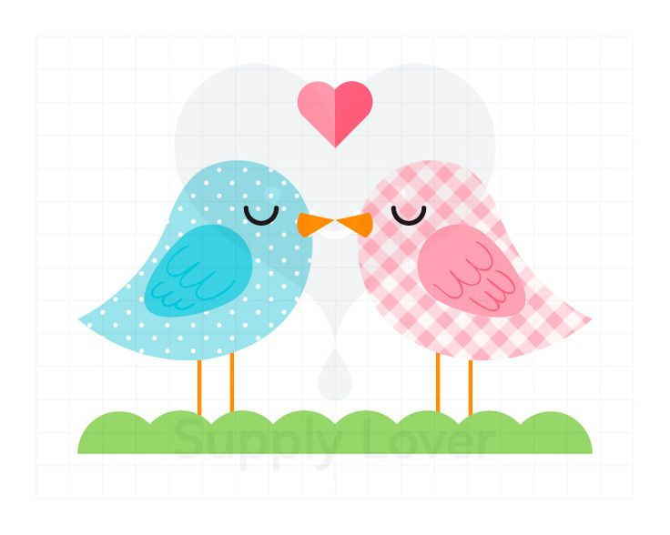 KISSING BIRDS Clip-Art Commercial Use, Blue, Polka Dot, Pink, Gingham, Plaid, Heart, Kiss, Bird, Valentines, Romance, Love - A0001