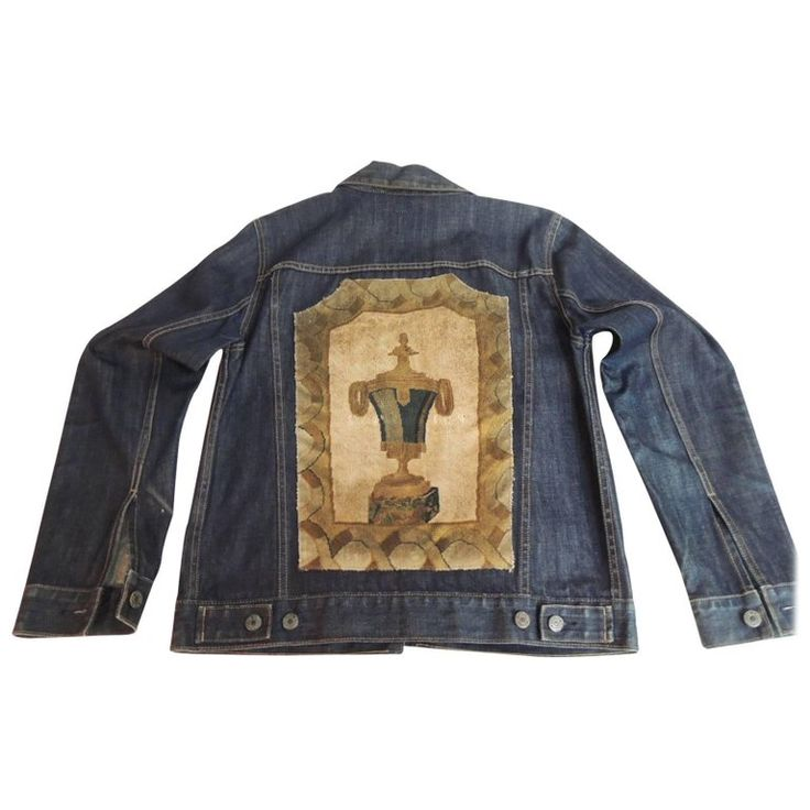 A.T.G. Custom Denim Jacket with a 19th Century Inset Aubusson Tapestry Panel | From a unique collection of antique and modern tapestries at https://www.1stdibs.com/furniture/wall-decorations/tapestry/