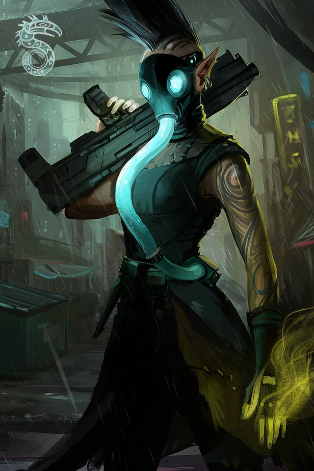 Shadowrun. Elven magician/adept with gas mask