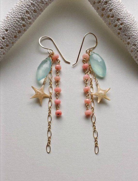 Items Similar To Real Starfish Dangle Earrings Peach Aqua Gemstone Cer Beach Beachy On Etsy
