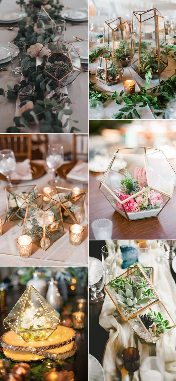 modern geometric terrarium wedding centerpieces ideas 2017