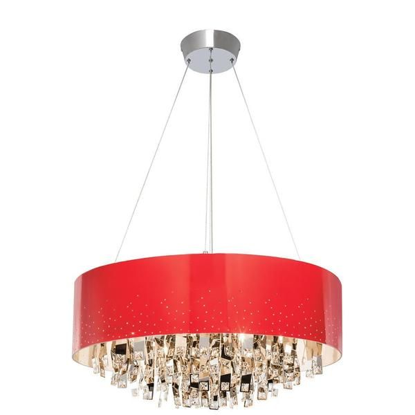 Kichler Lighting Vallo Collection Contemporary 12 Light Chrome And Red Chandelier