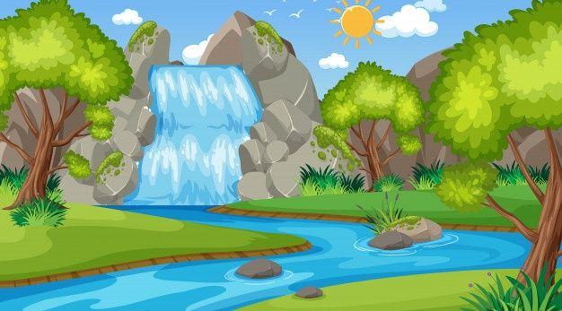 Escena De Fondo Con Muchos Arboles En El Premium Vector Freepik Vector Fondo Arbol Agua Dibujos Animados En 2020 Parques Escena Dibujos