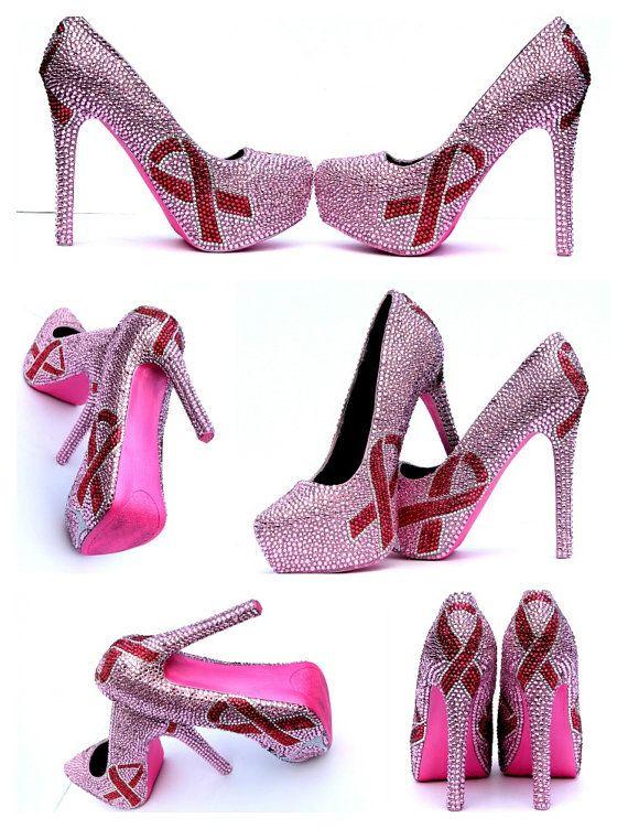 Breast Cancer ribbon heels in Pink Swarovski by WickedAddiction