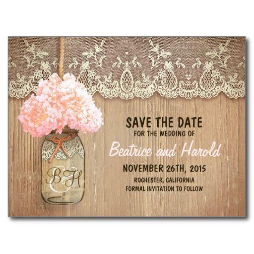 romantic mason jar pink flowers save the date postcard
