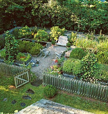 Another potsherds garden idea...just needs a second gate to the shed and colonial gate closers.