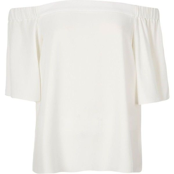 River Island Cream bardot top ($50) via Polyvore featuring tops, bardot / cold shoulder tops, cream, women, short sleeve tops, flutter-sleeve top, ruffle top, river island top and cream top