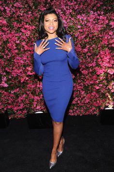 Taraji p henson blue dress engagement
