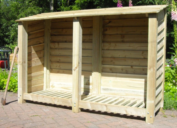 Rustic Treated Wooden Log Store by charmedwooduk on Etsy, £130.00