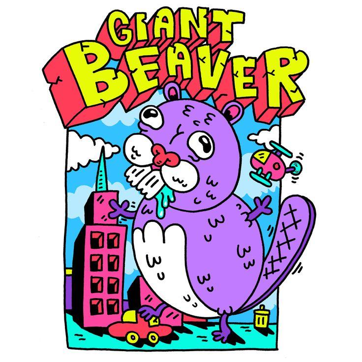 #Giant #Beaver #russelltaysom #acid #trippy #illustration