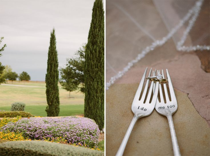 Ring shot with I DO forks, Wedding at Bella Vita Ranch in Stephenville, TX By Dallas Wedding Photographer Stephanie Brazzle Photography
