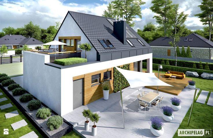 Projekt domu Sam G1 - widok od ogrodu - zdjęcie od Pracownia Projektowa ARCHIPELAG - Domy - Styl Nowoczesny - Pracownia Projektowa ARCHIPELAG