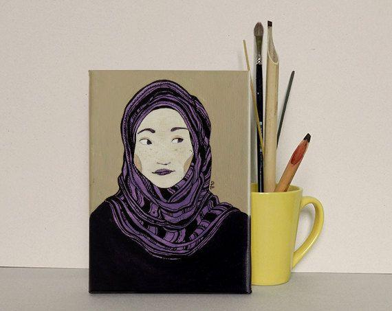 Chica con hijab. Iustración de Olalla Ruiz realizada en acrílico sobre lienzo. Medidas: Alto: 21,7 cm / Ancho: 15,7 cm / Grosor: 1,8 cm.  / Precio: 60€