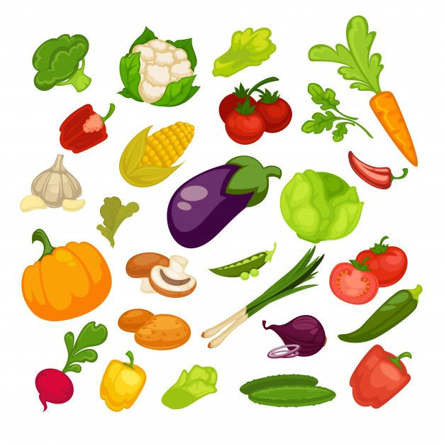 Vegetables Icons Set Healthy Vegetables Food Illustrations