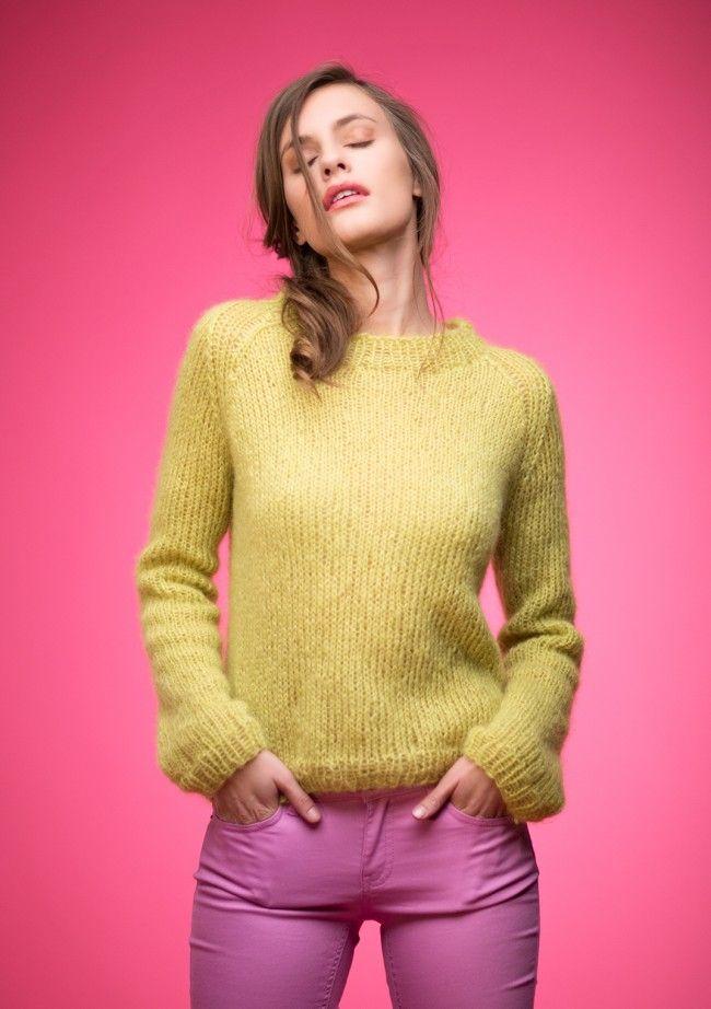 KORT GENSER Nr 3 Kort genser i dobbel Silk Mohair Vanskelighetsgrad: Enkel