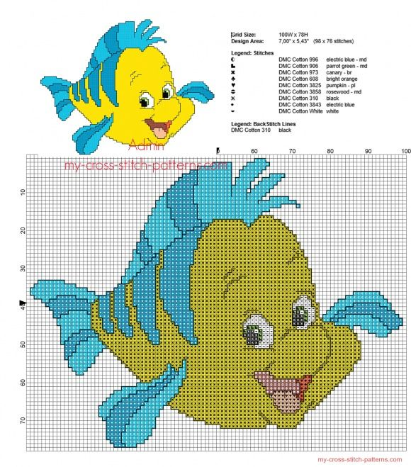 Flounder from Disney The Little Mermaid cross stitch pattern with back stitch use