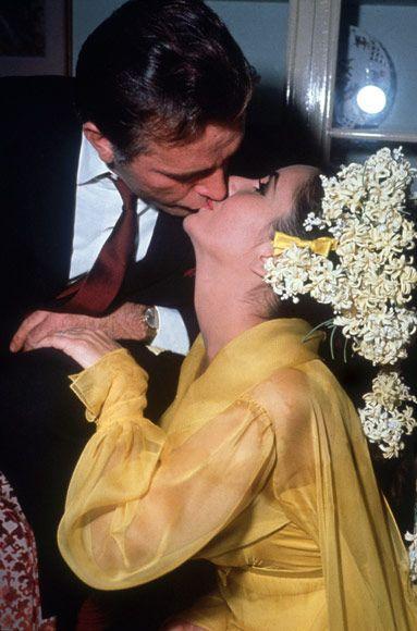 Elizabeth Taylor and Richard Burton wedding kiss March 15, 1964 at The Ritz-Carlton Hotel in Montreal, Canada