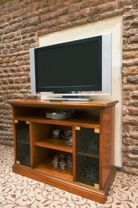 TV stand. Love the Brick!