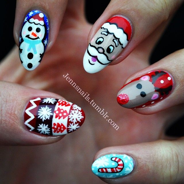 Hand Painted Christmas Nail Art: 59 Best Christmas / Winter Beauty Images On Pinterest