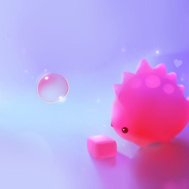 Cute Pink Dino HD IPad Wallpaper
