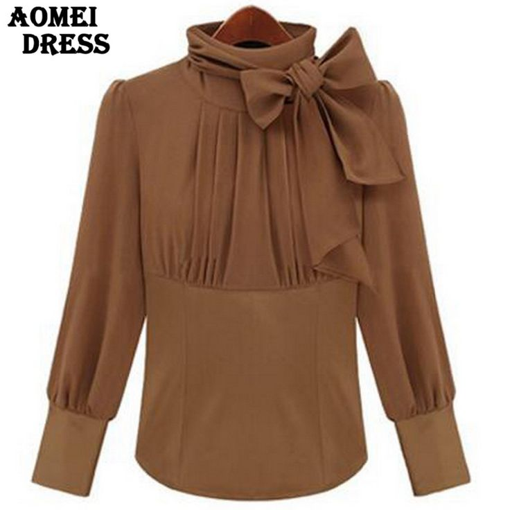 Cheap blouse xxxl, Buy Quality blouses girls directly from China turtleneck pullover Suppliers: 2017 Spring Turtleneck with Bowtie Blouse for Women Camel Color Black S M L XL Long Sleeve Office Ladies Workwear Tops Shirts