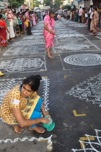 A Kolam contest at the Kapali Temple in Mylapore.