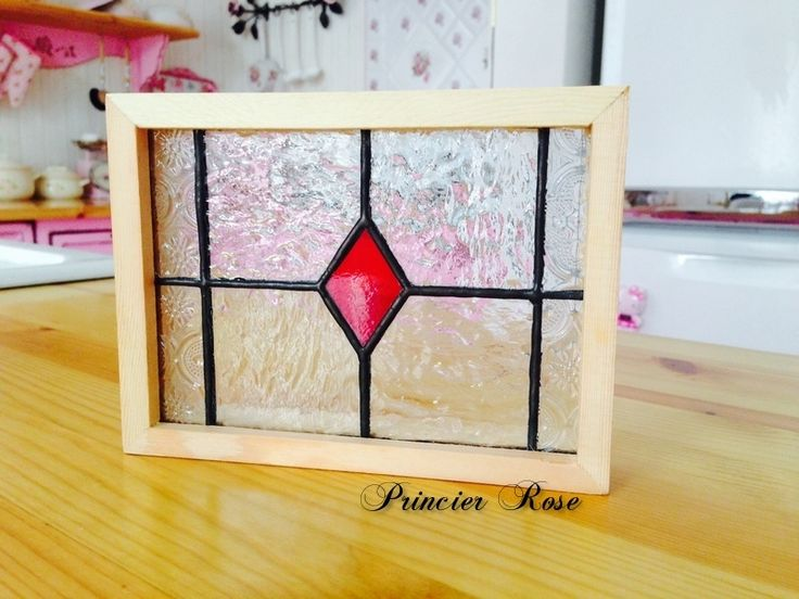 Stained glass small panel 「Diamond」