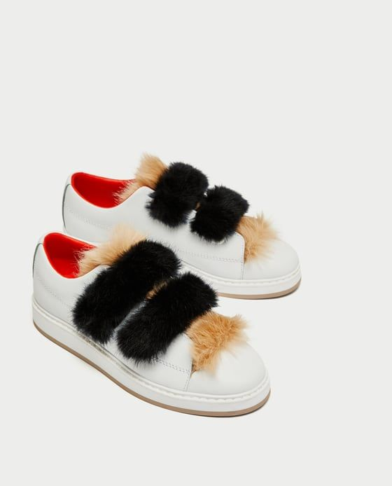 Zara Woman fur sneakers