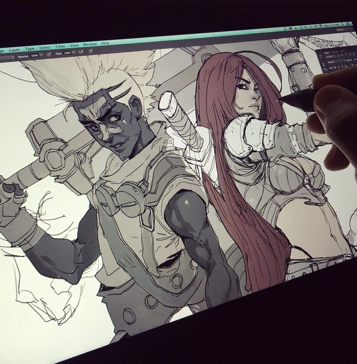 League of legends poster in progress #katarina #ekko #leagueoflegends…