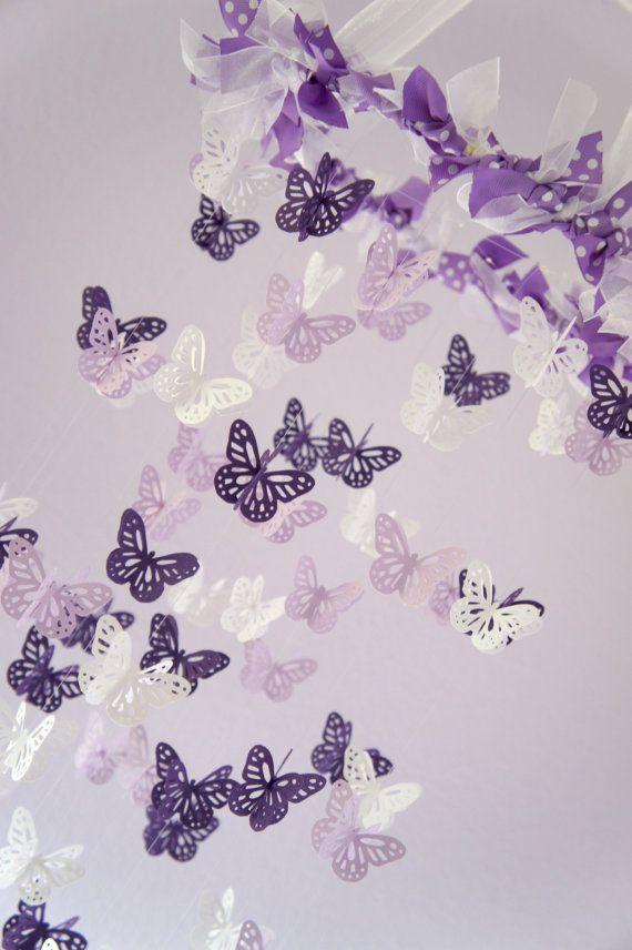 Baby girl nursery decor purple lavender butterfly mobile baby shower gift girl nursery decor - Baby girl nursery ideas purple ...