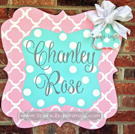 Personalized Quatrefoil Baby Sign For Hospital Door (Light Pink/ Turquoise) on Etsy, $50.00