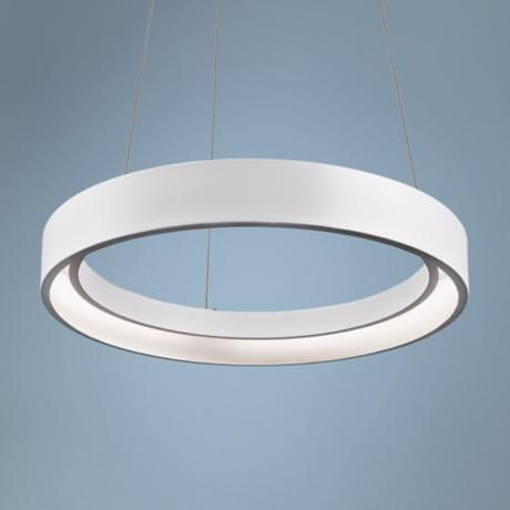 """Elan Fornello 17 3/4"""" Wide Dimmable LED White Pendant Light  Open circle small contemporary LED pendant light. Dimmable, energy efficient design. Textured sand white finish. Metal construction. Round ring design. Includes LED tape with 280 integrated 0.1 watt arrays (24 watts total). Light output 920.2 lumens. Comparable to one 100 watt incandescent bulb. 17 3/4"""" wide. 2 1/4"""" high.  $437"""