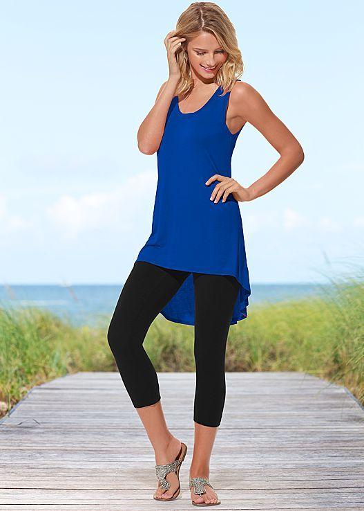 BLUE Scoop neck tunic, basic capri legging from VENUS