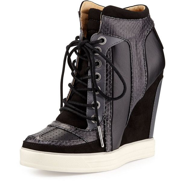 L.A.M.B. Summer Snake-Print Wedge Sneaker found on Polyvore